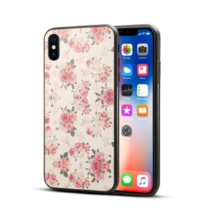 Pattern Printing PU Leather Coated PC + TPU Hybrid Case for iPhone XS Max 6.5 inch - Peony