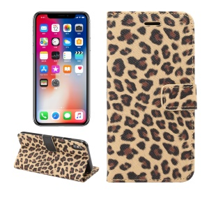 Leopard Pattern Wallet Stand Leather Phone Casing for iPhone XS Max 6.5 inch - Brown