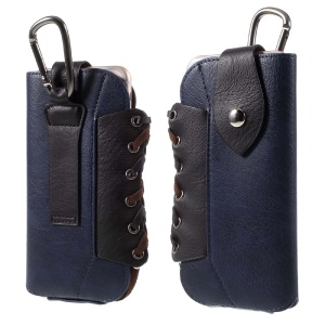 Outdoor Leather Sleeve Pouch + Carabiner for iPhone 7 Plus/ 6s Plus / 6 Plus, Size: 160 x 80mm - Dark Blue