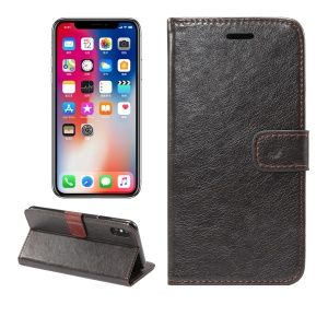 Crazy Horse Texture Wallet PU Leather Case with Stand for iPhone XS Max 6.5 inch - Black