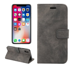 Retro Style Leather Wallet Flip Case with Stand for iPhone XS Max 6.5 inch - Black