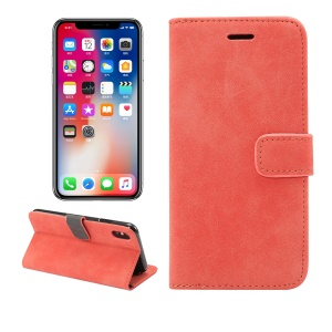 Retro Style Leather Wallet Flip Shell with Stand for iPhone XS Max 6.5 inch - Red