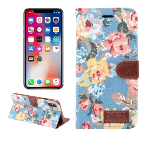 Flower Cloth Skin PU Leather Stand Protection Case for iPhone XS Max 6.5 inch - Blue