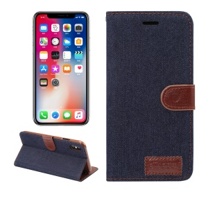 Jeans Cloth Card Holder Stand Leather Phone Case for iPhone XS Max 6.5 inch - Black Blue