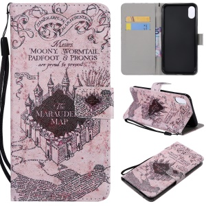 Patterned Wallet Stand Magnetic Leather Flip Mobile Case for iPhone XS Max 6.5 inch - Retro Castle Map