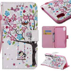 For iPhone XR 6.1 inch Patterned Light Spot Decor Wallet Stand Leather Phone Case Shell - Girl Swinging under Tree