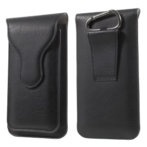 Dual-layer Leather Pouch with Carabiner for iPhone 6s Plus / 6 Plus, Size: 160 x 85mm - Black