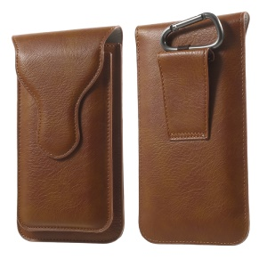 Dual-layer Leather Pouch with Carabiner for iPhone 7 Plus/ 6s Plus / 6 Plus, Size: 160 x 85mm - Brown