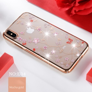 SULADA Electroplating Rhinestone Decoration Patterned Hard PC Mobile Casing for iPhone XS Max 6.5 inch - Rose Gold