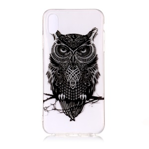 Patterned IMD Clear TPU Cell Phone Case for iPhone Xs Max 6.5-inch - Owl on the Branch
