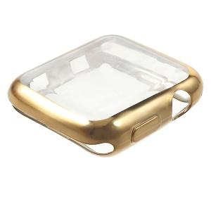 Electroplating Soft TPU Casing Cover for Apple Watch Series 3/2/1 38mm - Gold