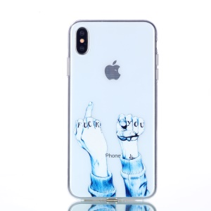 Pattern Printing TPU Back Phone Shell for iPhone XS Max 6.5 inch - Angry Words