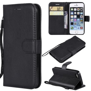 Wallet Leather Stand Case for iPhone SE/5s/5 - Black