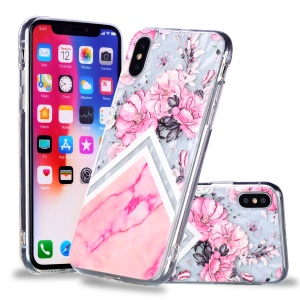 For iPhone Xs/X 5.8 inch Embossed Flower Pattern 3D Diamond Surface TPU Mobile Case - Pink Flower and Marble Pattern