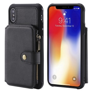 Multi-functional Zipper Wallet Leather Coated TPU Phone Cover for iPhone XS / X 5.8 inch - Black