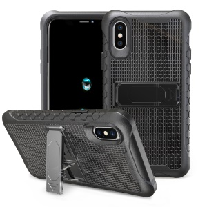 Football Grain PC + TPU Shockproof Cover Case for iPhone X/10 - All Black