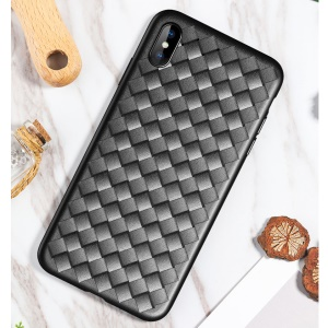 ROCK BV Woven Pattern Heat Dissipation TPU Back Case for iPhone XS Max 6.5 inch - Black