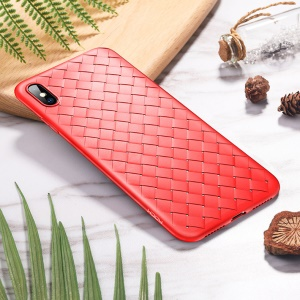 ROCK BV Woven Pattern Heat Dissipation TPU Phone Cover Case for iPhone XS / X 5.8 inch - Red