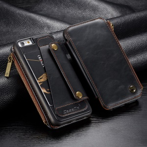 CASEME Detachable 2-in-1 Business Zipper Leather Wallet Cover for iPhone 6s / 6 4.7-inch - Black