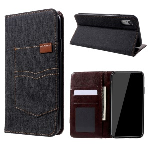 Pocket Jeans Cloth Leather Wallet Cover for iPhone XR 6.1 inch - Black