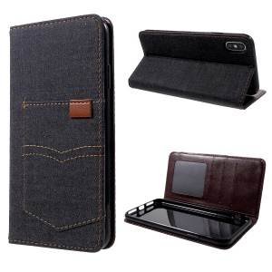 For iPhone XS Max 6.5 inch Pocket Jeans Cloth Leather Wallet Stand Shell - Black