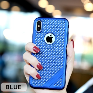 Hollow Heat Dissipation TPU Protective Case for iPhone Xs Max 6.5 inch - Blue