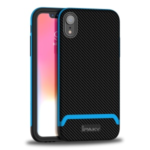 IPAKY 2-Piece PC Bumper + Carbon Fiber TPU Hybrid Case for iPhone XR 6.1 inch - Black / Blue