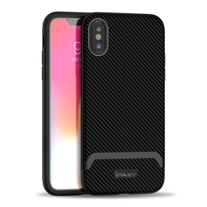 IPAKY for iPhone XS Max 6.5 inch Detachable PC Bumper + Carbon Fiber TPU Combo Phone Case - All Black
