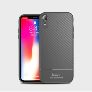 IPAKY Carbon Fiber Texture TPU Protection Back Cover for iPhone XR 6.1 inch - Grey