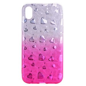 For iPhone XR 6.1 inch 3D Heart Diamond Grain Gradient Color Soft TPU Mobile Phone Case - Rose