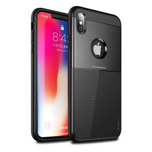 IPAKY PC + TPU Hybrid Grid Pattern Casing for iPhone XS Max 6.5 inch - Black