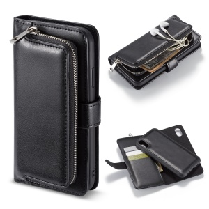 Magnetic Detachable 2-in-1 Zippered Wallet Leather Phone Shell for iPhone XR 6.1 inch - Black