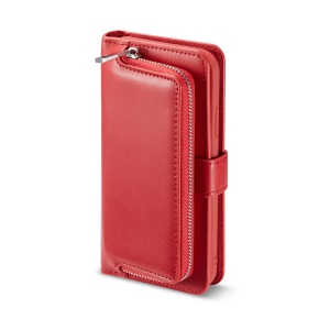 Detachable 2-in-1 Magnetic Zippered Wallet Leather Cover for iPhone Xs Max 6.5-inch - Red