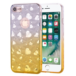 3D Heart Diamond Grain Gradient Color Soft TPU Shell for iPhone 8/7 - Gold
