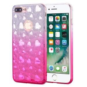Gradient Color Love Heart 3D Diamond Grain Soft TPU Phone Case for iPhone 8 Plus / 7 Plus 5.5 inch - Rose
