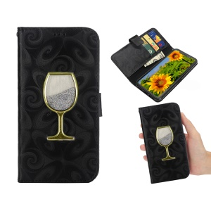 Spiral Texture Wineglass Quick Sand Leather Wallet Flip Accessory Case for iPhone XR 6.1 inch - Black