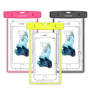 USAMS Fluorescent IPX8 Waterproof Case for iPhone 8 Plus/8/7/6s/6 4.7 with Strap, Size: 17 x 10cm - Yellow