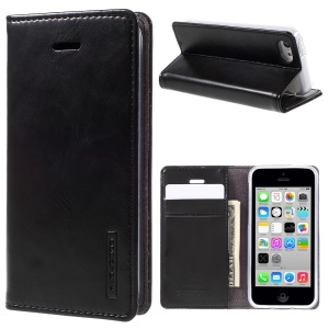 MERCURY GOOSPERY Blue Moon for iPhone 5c Wallet Leather Stand Case - Black