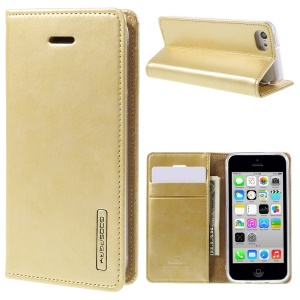 MERCURY GOOSPERY Blue Moon for iPhone 5c Wallet Leather Stand Case - Gold