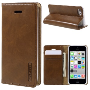 MERCURY GOOSPERY Blue Moon for iPhone 5c Leather Wallet Case Stand - Brown
