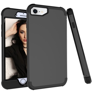 Shockproof PC TPU Silicone Hybrid Phone Casing for iPhone 8 / 7 / 6s / 6 - All Black