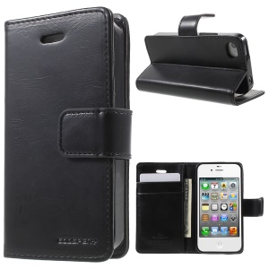 MERCURY GOOSPERY Blue Moon for iPhone 4s 4 Magnetic Leather Wallet Case - Black