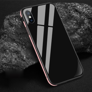 SULADA Tempered Glass + Metal Frame + TPU Combo Casing for iPhone XR 6.1 inch - Pink