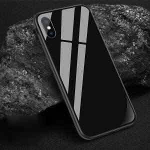 SULADA Tempered Glass + Metal Frame + TPU Hybrid Phone Case for iPhone XS Max 6.5 inch - Black