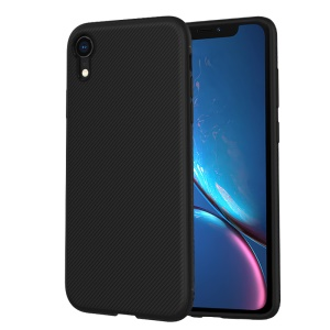 LENUO Twill Texture TPU Back Case Cover for iPhone XR 6.1 inch - Black