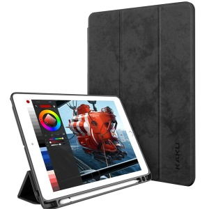IKAKU Pen Slot Series Smart Stand PU Leather Case for iPad 9.7-inch (2018) / 9.7-inch (2017) / Air 2 / Air - Black