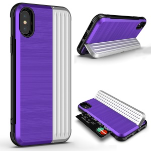 ANGIBABE Kickstand Card Holder PC TPU Dual Layer Hybrid Case for iPhone XR 6.1 inch - Purple / Silver