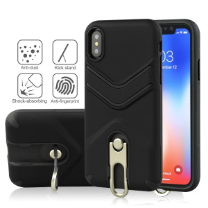 Slim TPU Matte PC Hybrid Case with Metal Kickstand for iPhone XS Max 6.5 inch - Black