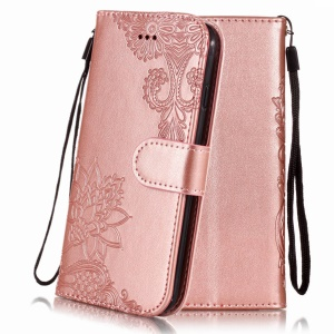 Imprint Vivid Flower Wallet Stand Magnetic Leather Shell for iPhone XR 6.1 inch - Rose Gold