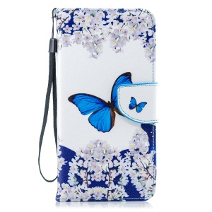 For iPhone XS Max 6.5 inch Pattern Painting Cross Texture Leather Wallet Stand Magnetic Cover - Butterfly
